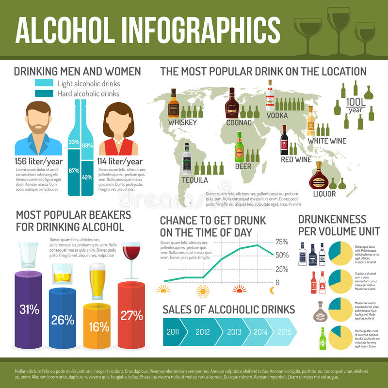 Alcohol Infographics Set vector illustration