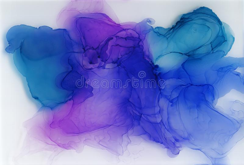 Alcohol ink, acrylic, watercolor colorful abstract background stock illustration
