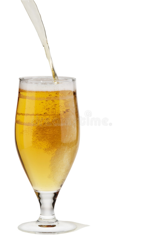 Alcohol light beer pouring into a glass. Alcohol light beer with froth and bubbles pouring into a glass isolated over white stock photos