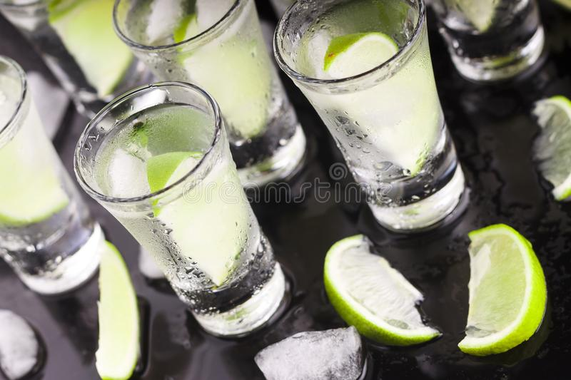 Alcohol with lime. Cocktail. Bar. A party. Night club royalty free stock photo