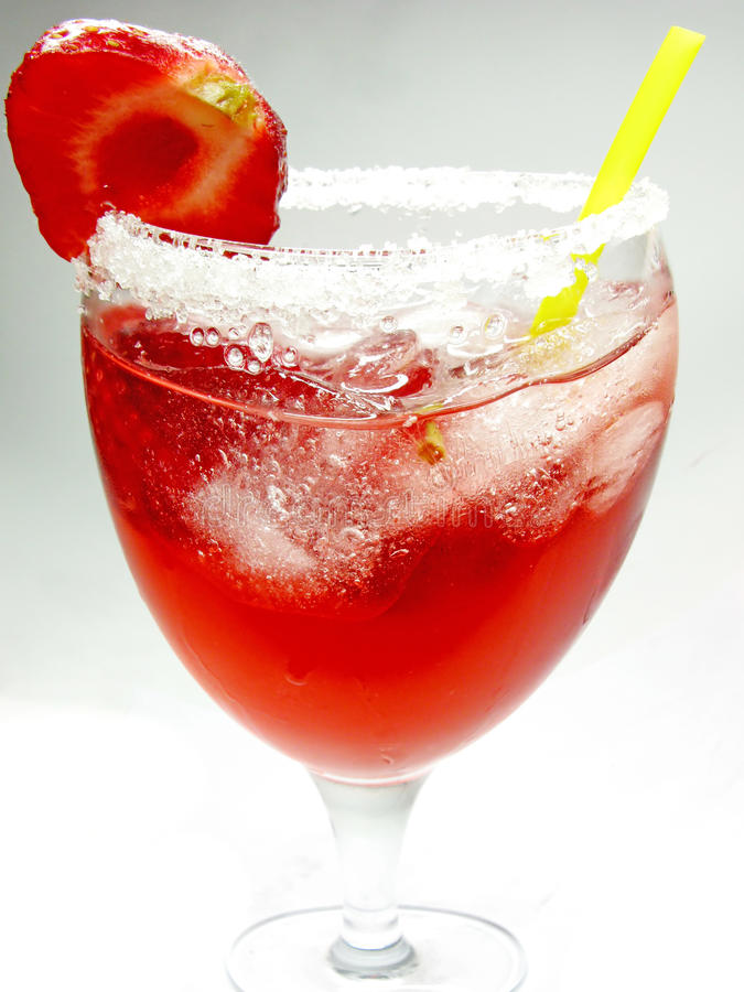 Alcohol Liqueur Punch Cocktail With Strawberry Royalty Free Stock Photo