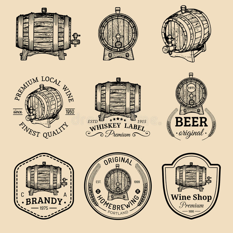 Alcohol logos. Wooden barrels set with drinks signs of cognac,brandy,whiskey,wine,beer. Labels with hand sketched kegs. Alcohol logos. Wooden barrels set with stock illustration