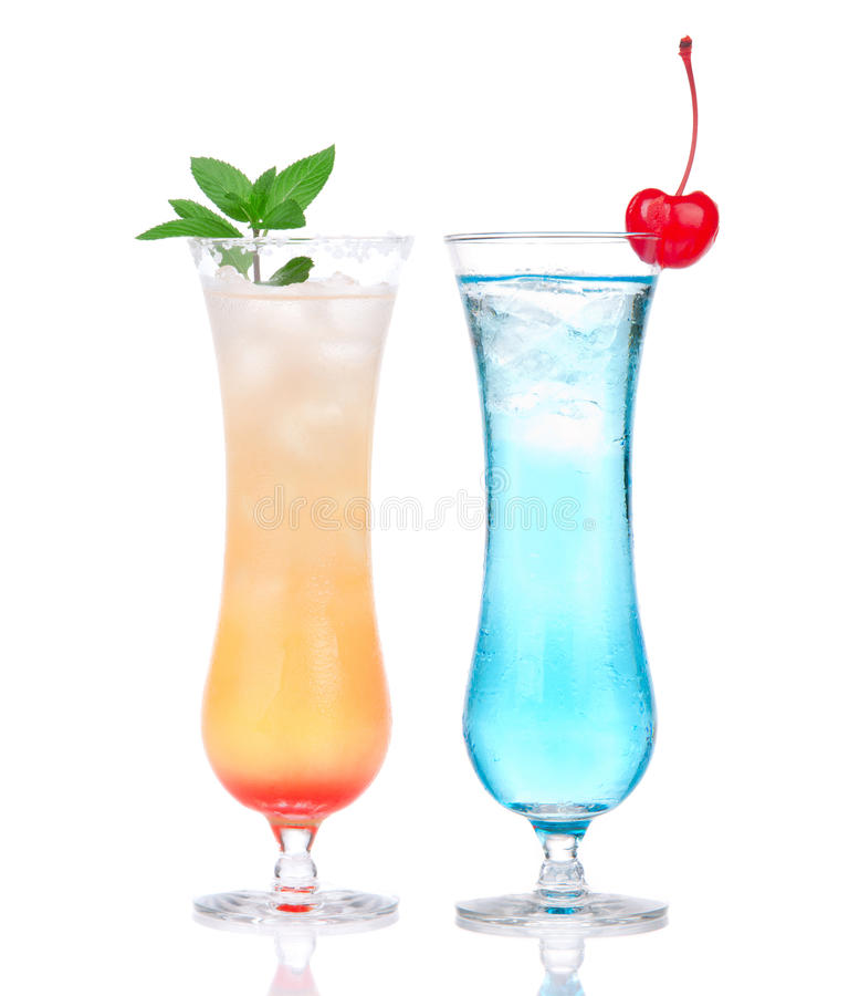 Alcohol margarita mai tai cocktail and blue hawaian Iced tea stock photo
