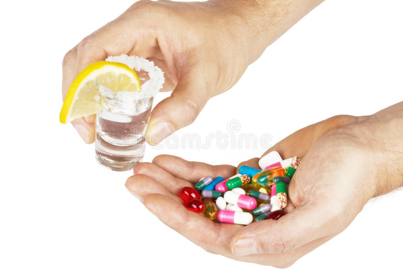 Download Alcohol With Medicines With Hands On White Stock Photo - Image of concepts, medicine: 27039930