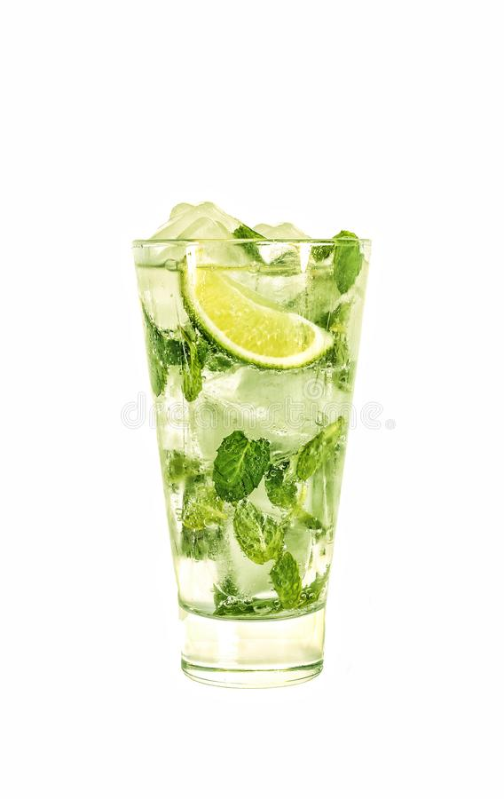Alcohol. Mojito, cocktail, soda drink, lime, mint, isolated, white background. copy space stock photos