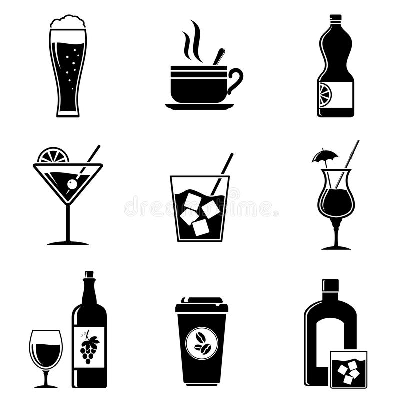 Beverages icons set royalty free illustration