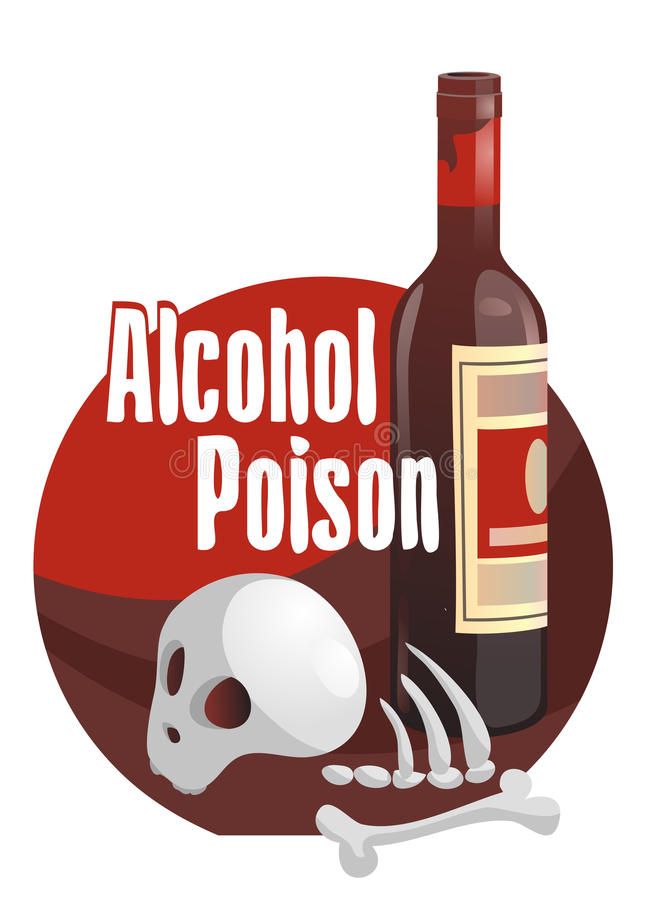 Alcohol poison. Horror-filled picture royalty free illustration