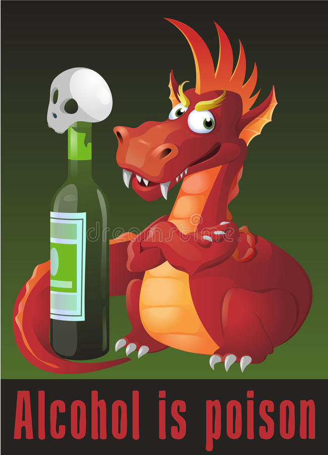 Alcohol is poison. Horror-filled picture with dragon and skull. stock illustration