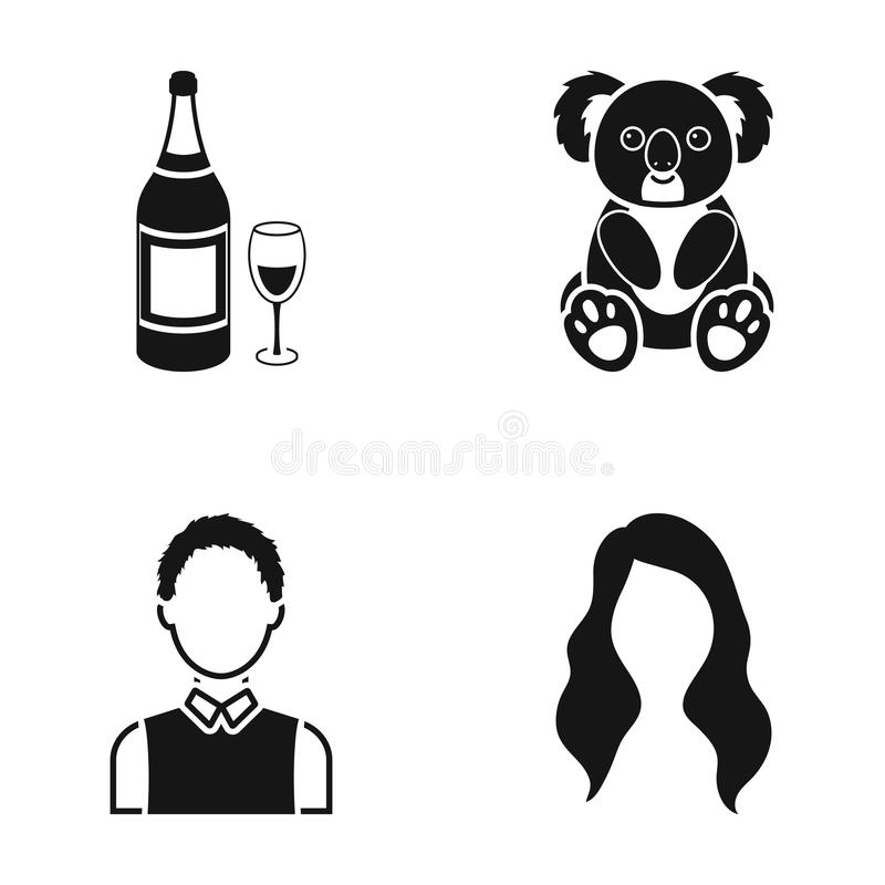 Alcohol, profession and or web icon in black style. hairdresser, animal icons in set collection. vector illustration