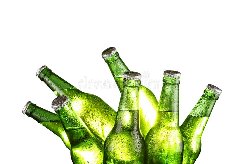 Alcohol, St. Patrick`s Day. pub. Sports bar. bottle, beer, white, green, alcohol, beverage, cold, drink, liquid, refreshment, bac. Alcohol, pub. Sports bar. Beer royalty free stock photo