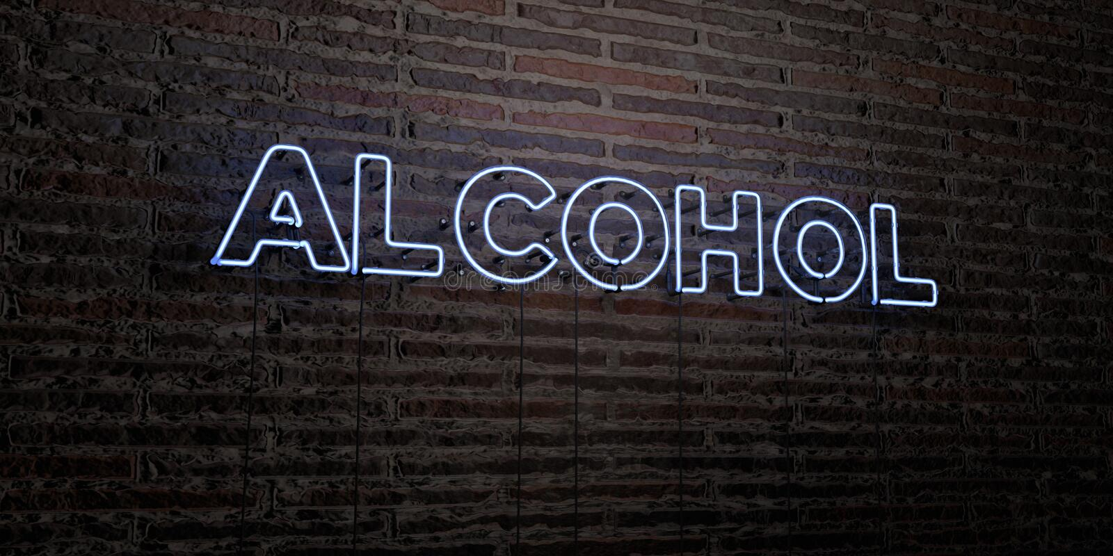 ALCOHOL -Realistic Neon Sign on Brick Wall background - 3D rendered royalty free stock image royalty free illustration
