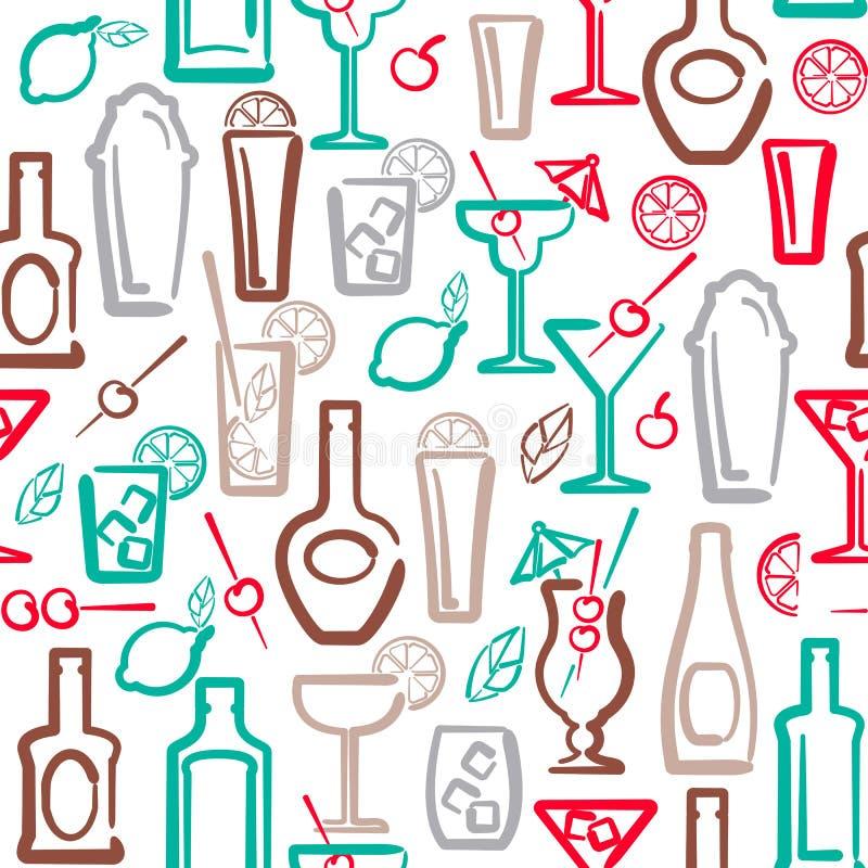 Alcohol seamless pattern stock illustration