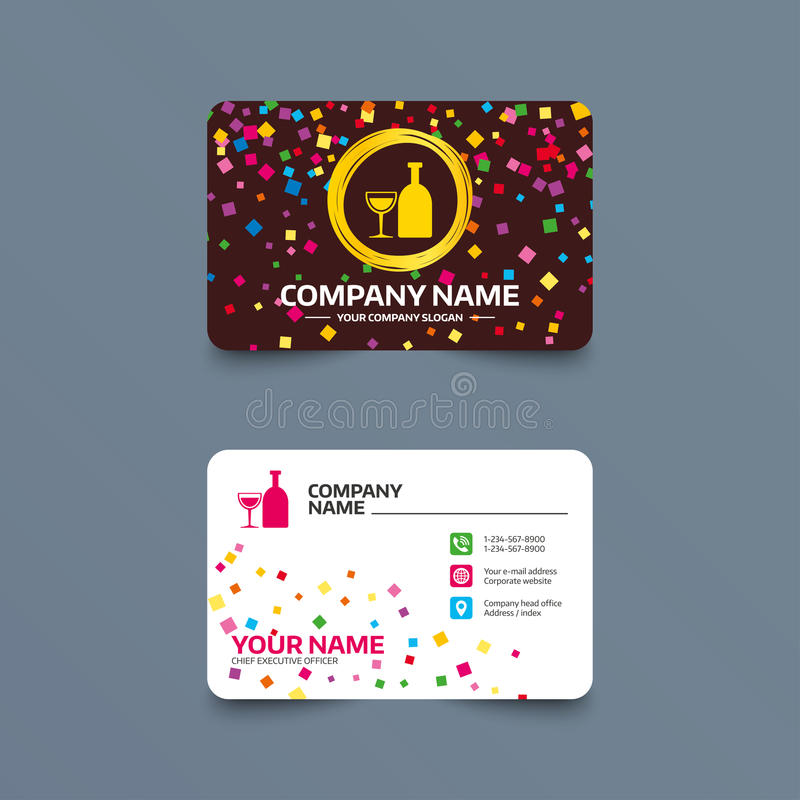 Alcohol sign. Drink symbol. Bottle with glass. Business card template with confetti pieces. Alcohol sign icon. Drink symbol. Bottle with glass. Phone, web and stock illustration