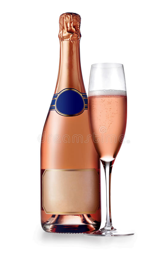 Alcohol, sparkling rose wine stock photo