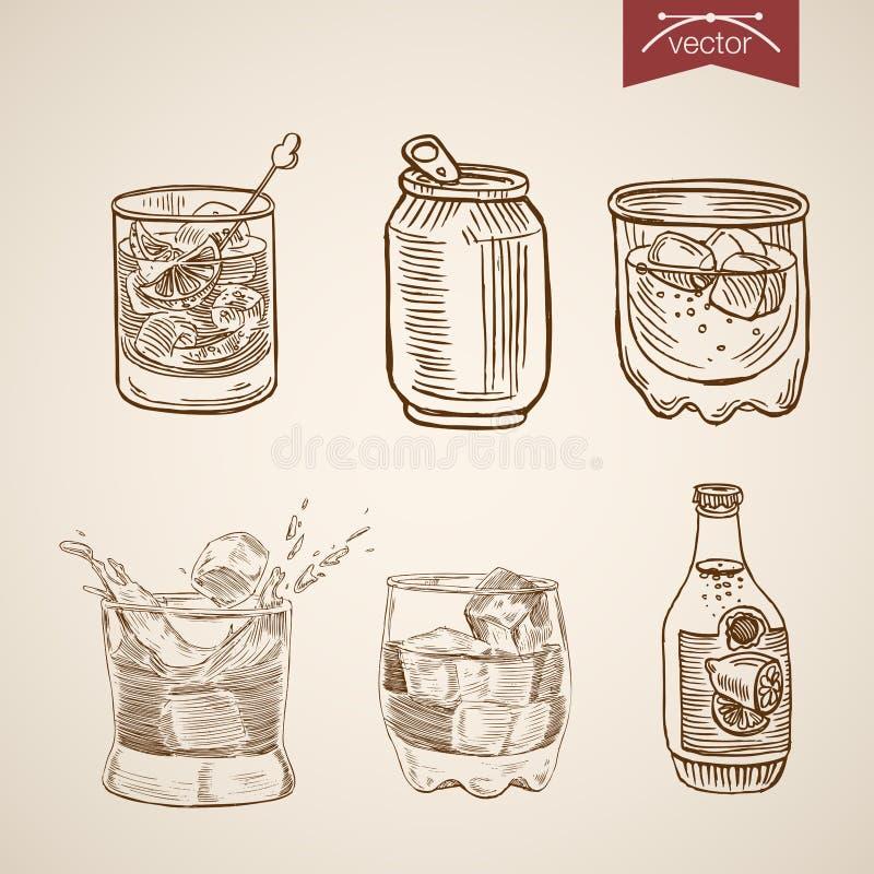 Alcohol spirit mix cocktail glasses engraving vector vintage. Alcohol spirit mix cocktail glasses can bottle set. Engraving style pen pencil crosshatch hatching stock illustration