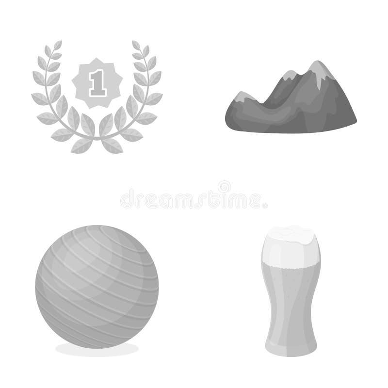 Alcohol, sporten en ander zwart-wit pictogram in beeldverhaalstijl reis, geschiktheidspictogrammen in vastgestelde inzameling vector illustratie