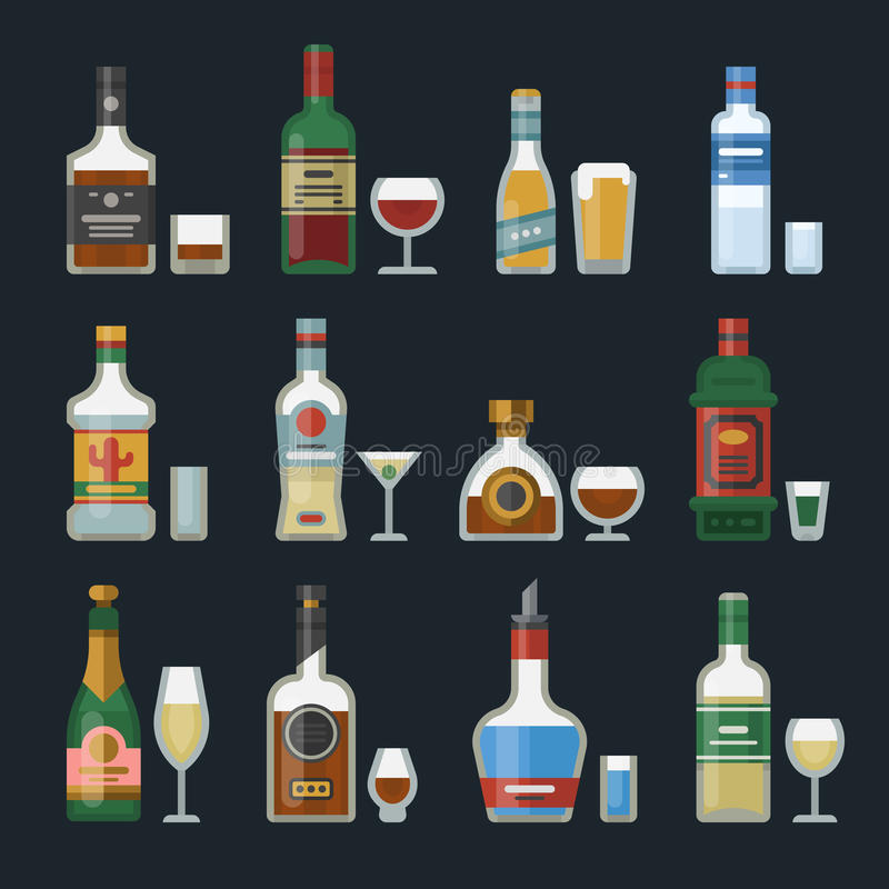 Alcohol strong drinks in bottles cocktail glasses whiskey cognac brandy beer champagne wine vector illustration stock illustration