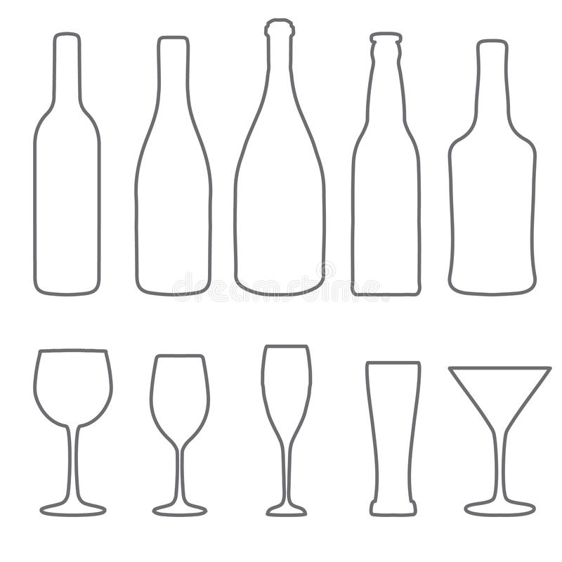 Alcohol thin lines icons set. Wine. beer, gin, champagne icons royalty free illustration
