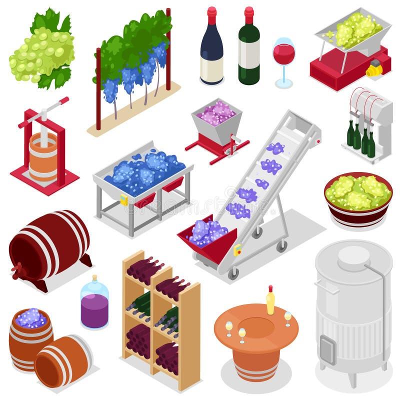 Alcohol van de wijnmakerij de vectorwijn in winebottles of wijnglas met druif of wijnstok op de reeks van de wijnbereidingsillust stock illustratie