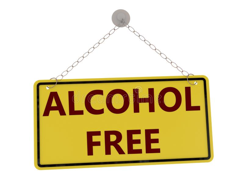 Alcohol vrij teken stock illustratie