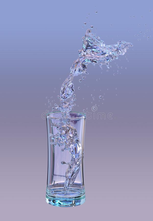 Alcohol, water, juice liquid splashes out of glass, decorative. 3D illustration vector illustration