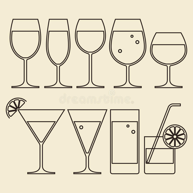 Alcohol, Wine, Beer, Cocktail and Water Glasses stock illustration