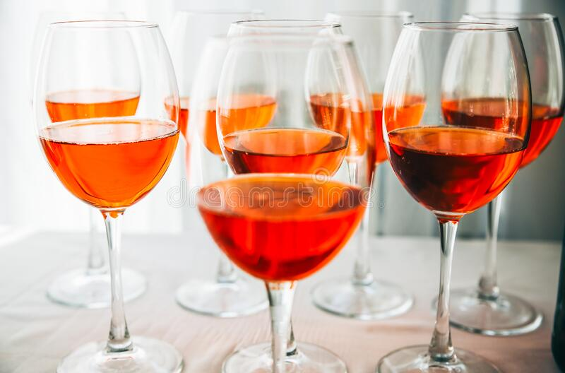 Alcohol in wine glasses at the party.  royalty free stock photos
