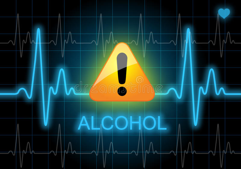 ALCOHOL - written on heart rate monitor stock illustration