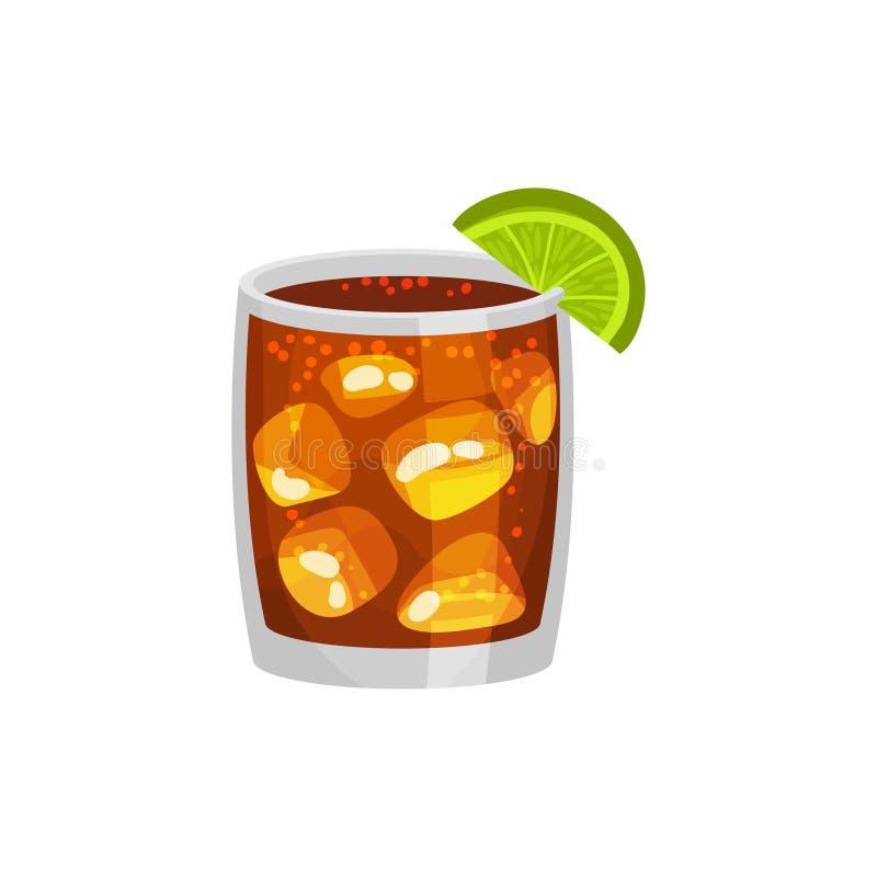 Alcoholcocktail Whisky, rum, ijs, kalk, kola Cuba libre Vector illustratie stock illustratie
