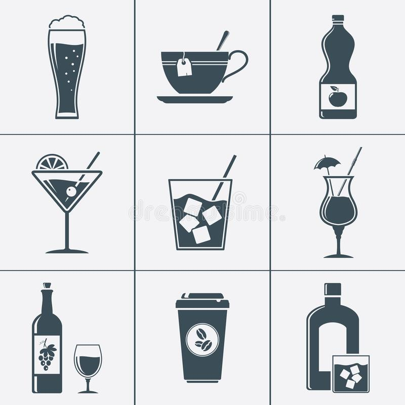 Alcohol and nonalcohol beverages icons stock illustration