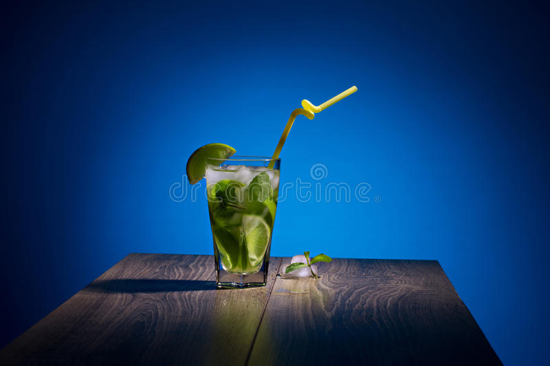 Alcoholic beverage with tropical fruit stock photos