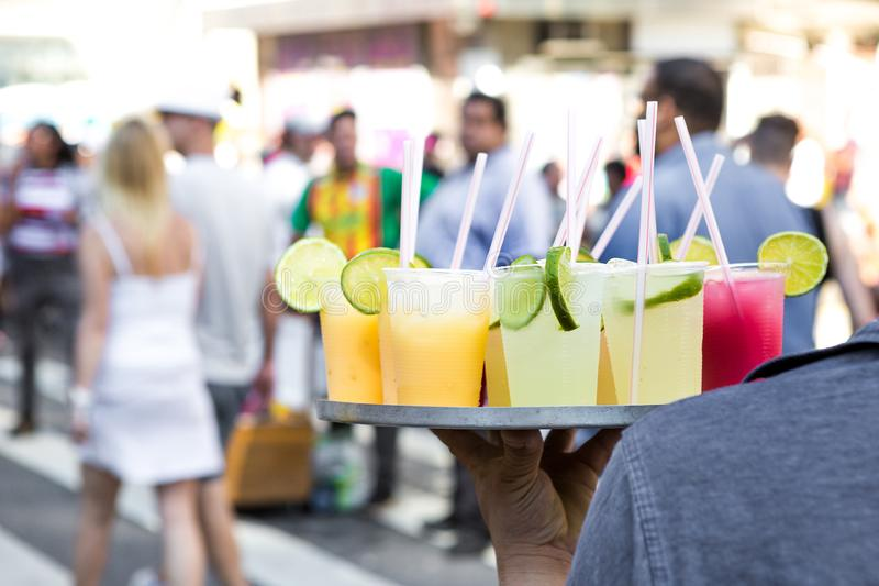 Alcoholic beverages being sold at Avenida Paulista, Sao Paulo.  stock photo