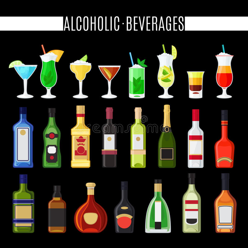Alcoholic beverages icons set. On black background. Cocktails and bottles vector icons vector illustration