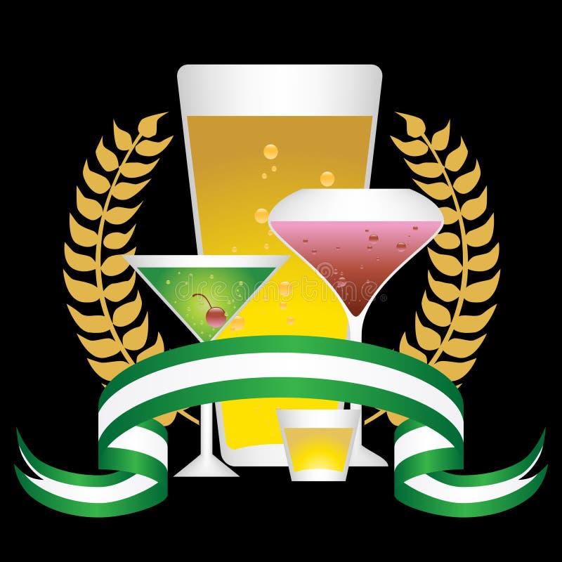 Download Alcoholic Beverages: Laurel Wreath Set - Black Stock Images - Image: 9292734