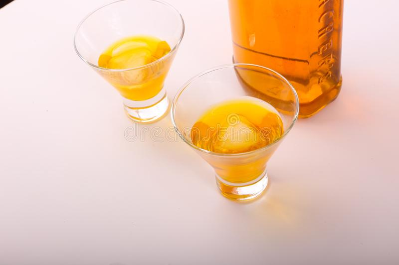 Alcoholic beverages. Variety of different Alcoholic beverages bottles royalty free stock photos