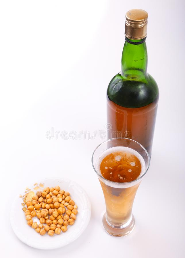 Alcoholic beverages. Variety of different Alcoholic beverages bottles royalty free stock image