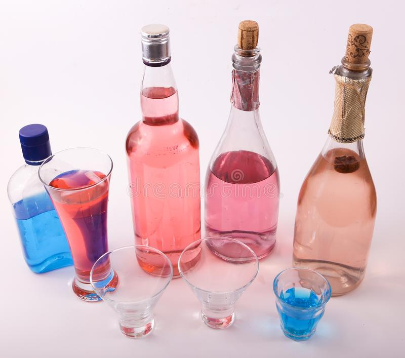 Alcoholic beverages. Variety of different Alcoholic beverages bottles royalty free stock photography