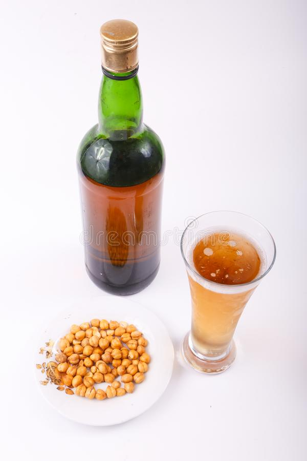 Alcoholic beverages. Variety of different Alcoholic beverages bottles stock image