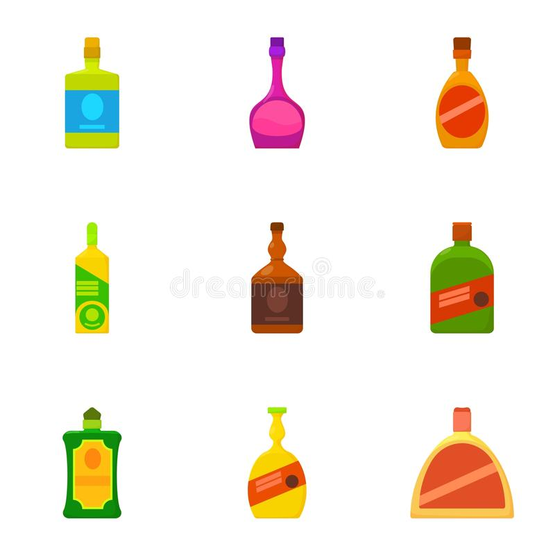 Alcoholic bottle icons set, cartoon style. Alcoholic bottle icons set. Cartoon set of 9 alcoholic bottle vector icons for web isolated on white background vector illustration