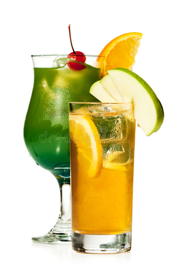 Alcoholic Cocktail. With Apple and Lemon Slice stock photography