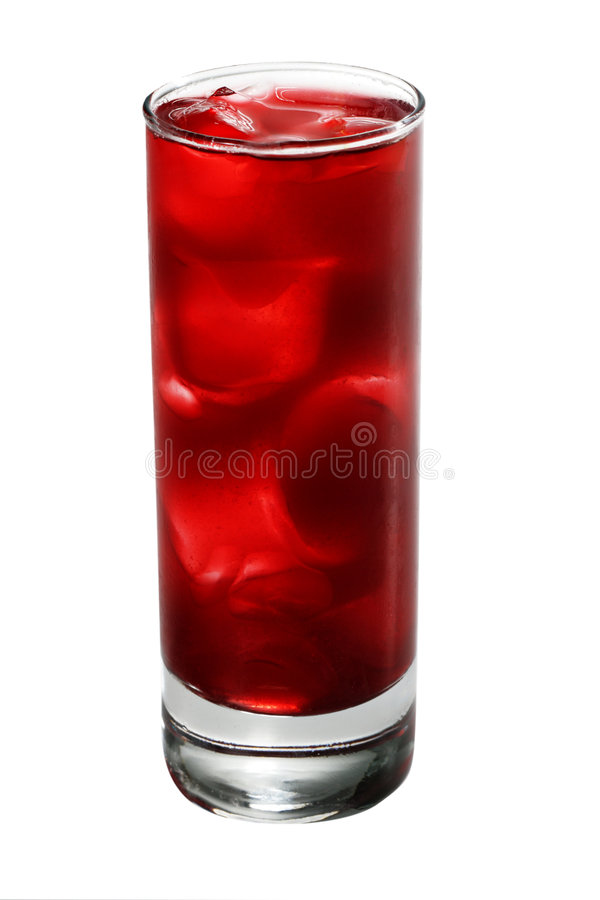 Alcoholic Cocktail. Red Alcoholic Cocktail made of Lychee Liqueur, Pineapple Juice and Cranberries Juice with Ice Cube. Isolated on White Background royalty free stock image