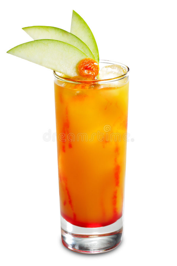 Alcoholic Cocktail. Made of Liqueur, Rum, Pineapple Juice and Grenadine Syrup Served with Apple Slice. Isolated on White Background stock images