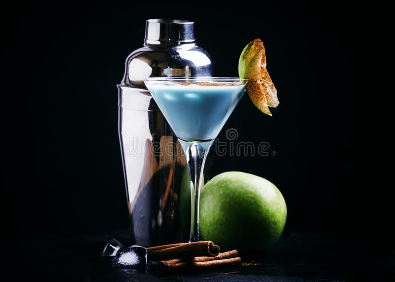 Alcoholic cocktail blue temptation, with vodka, liqueur, cream, royalty free stock image