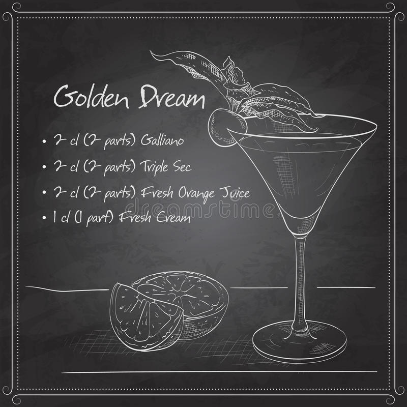 Alcoholic Cocktail Golden dream on black board. Golden Dream is a cocktail that contains Galliano, Cointreau, fresh orange juice and fresh cream on black board stock illustration