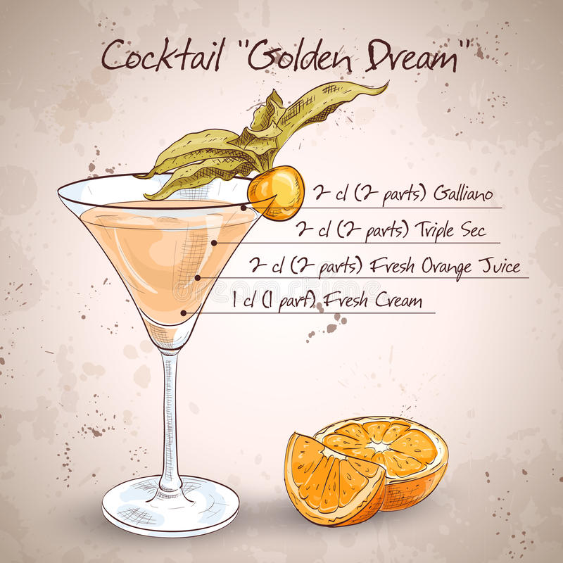 Alcoholic Cocktail Golden dream. Golden Dream is a cocktail that contains Galliano, Cointreau, fresh orange juice and fresh cream. It is classed as an after stock illustration