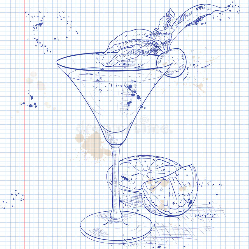 Alcoholic Cocktail Golden dream on a notebook page. Golden Dream is a cocktail that contains Galliano, Cointreau, fresh orange juice and fresh cream on a vector illustration