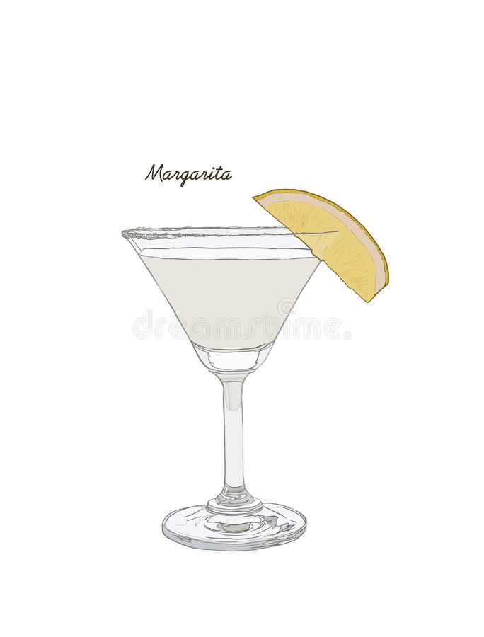 Alcoholic cocktail hand drawn sketch vector illustration. Vintage cocktail icon, margarita with lemon , beverage pencil drawing f royalty free illustration