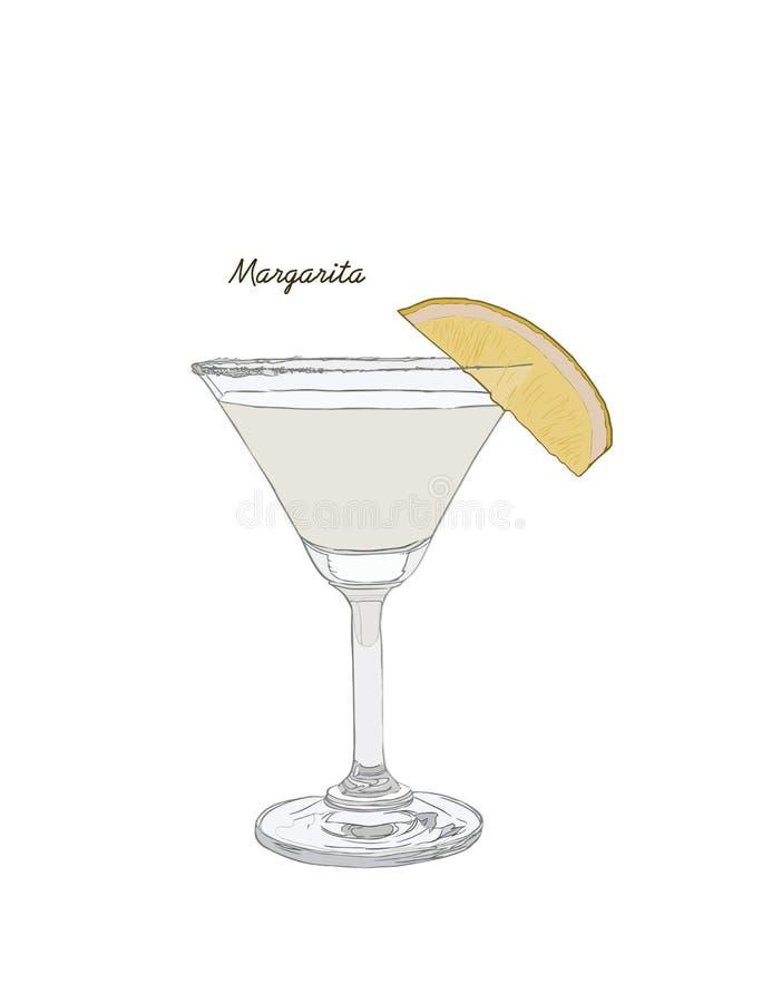 Alcoholic cocktail hand drawn sketch vector illustration. Vintage cocktail icon, margarita with lemon , beverage pencil drawing f. Or bar or pub menu royalty free illustration