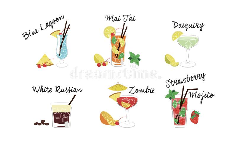 Alcoholic cocktails set, Blue lagoon, Mai Tai, Daiquiri, White Russian, Zombie, Strawberry mojito vector Illustration. Isolated on a white background vector illustration