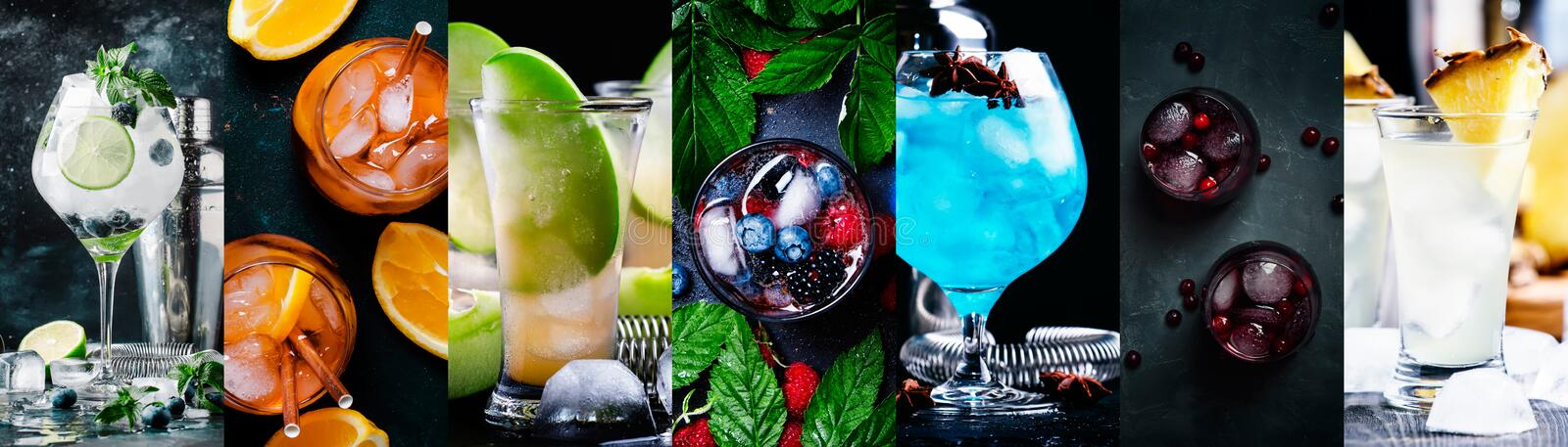 Alcoholic cocktails with strong drinks, soda, berries and fruit in assortment. Close-up. Photo collage stock images